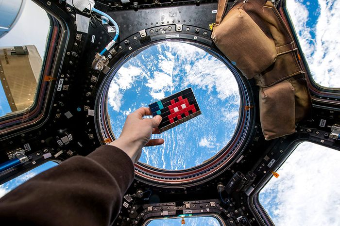 Not exactly space invaders.  Image from the ISS.