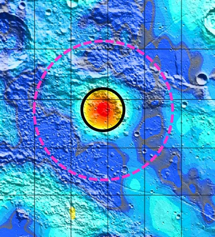 The Earhart crater, a previously unknown lunar crater, is outlined in the magenta dash circle.