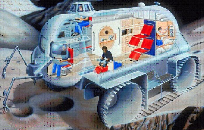A concept for a proposed lunar rover from 1990