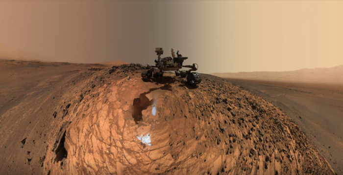 NASA's Curiosity Rover takes a selfie at the Buckskin rock on Mars.
