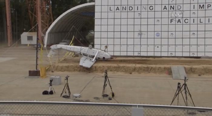 The third of three airplanes NASA crashed to test locator sensor technology.