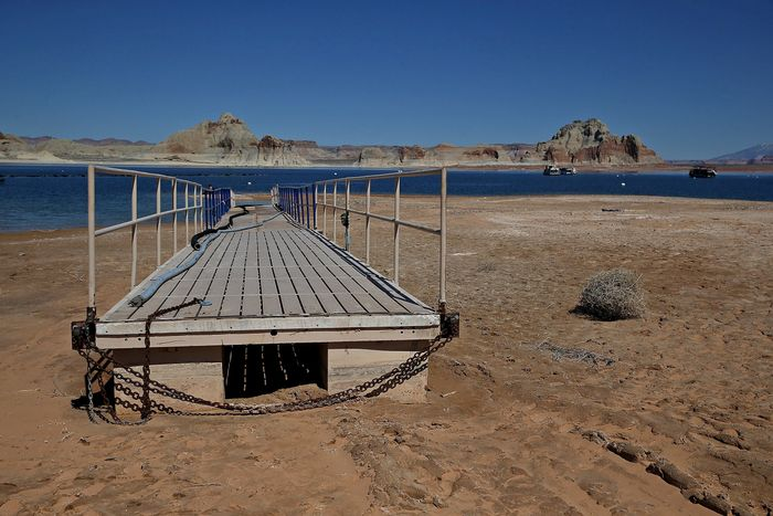 A gangplank sits on what is now dry lakebed at Lake Powell in Arizona