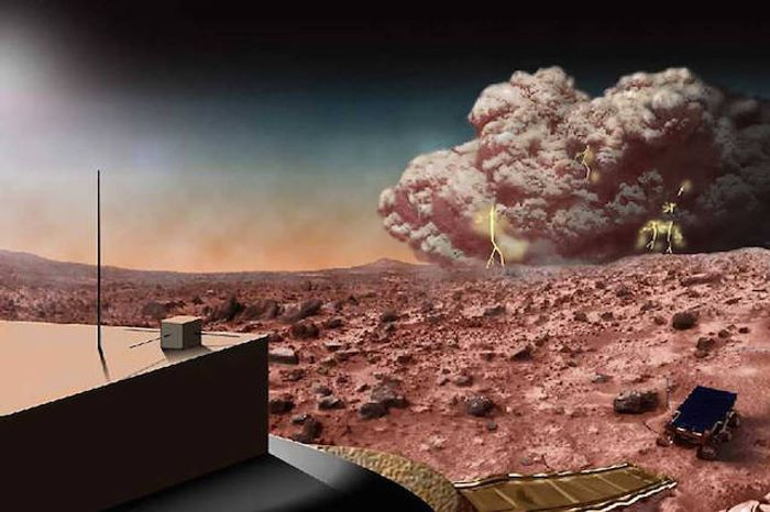 Artist's conception of a Martian dust storm