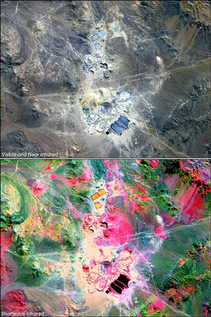 Two versions of the same image of the Escondido Mine in Chile