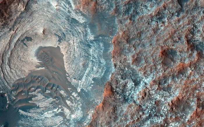 Dunes in a circular depression on Mars, taken by the Mars Reconnaissance Orbiter