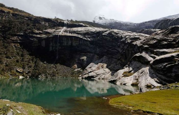 Lake Rajupaquinan at Huascaran natural reserve in Ancash. Peru has more tropical glaciers than any other nation but rising temperatures linked to global warming have helped shrink the ice masses by up to 40 percent.