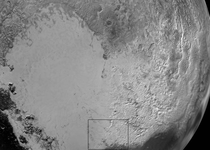 Here, we have a closer look at Pluto's 'heart,' which scientists believe is composed of frozen nitrogen.