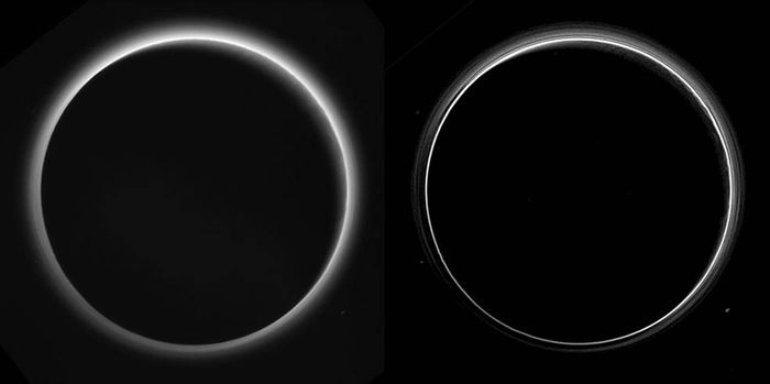 Here, we see Pluto's mysterious haze.