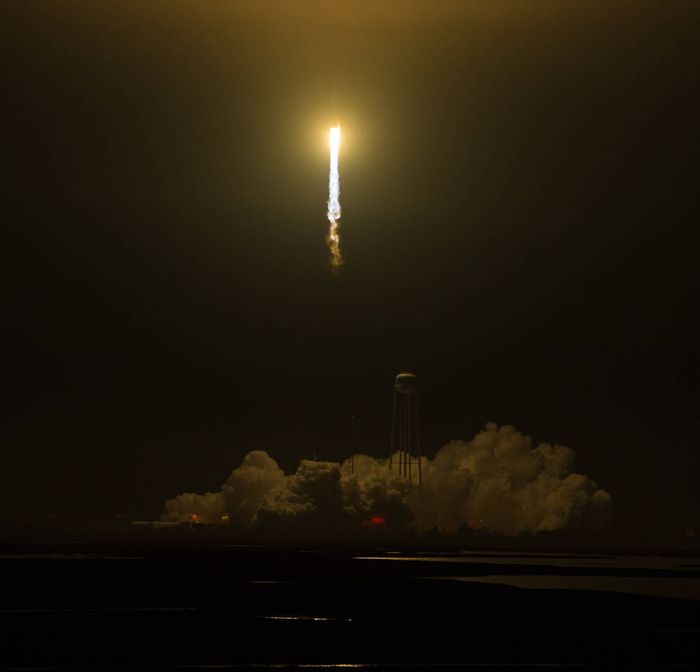 A look at the launch of Orbital ATK's Antares rocket from Monday morning.