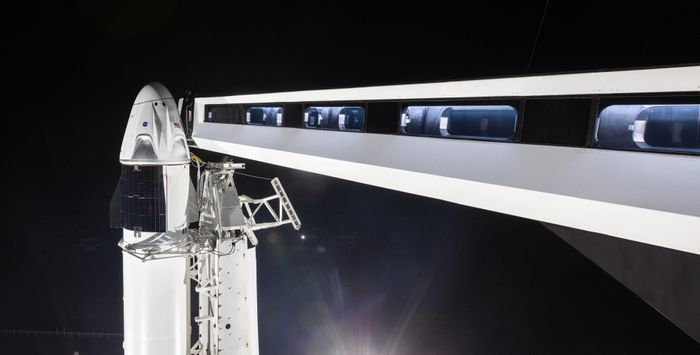 SpaceX's Crew Dragon capsule currently sits atop a Falcon 9 rocket at Launch Complex 39A.