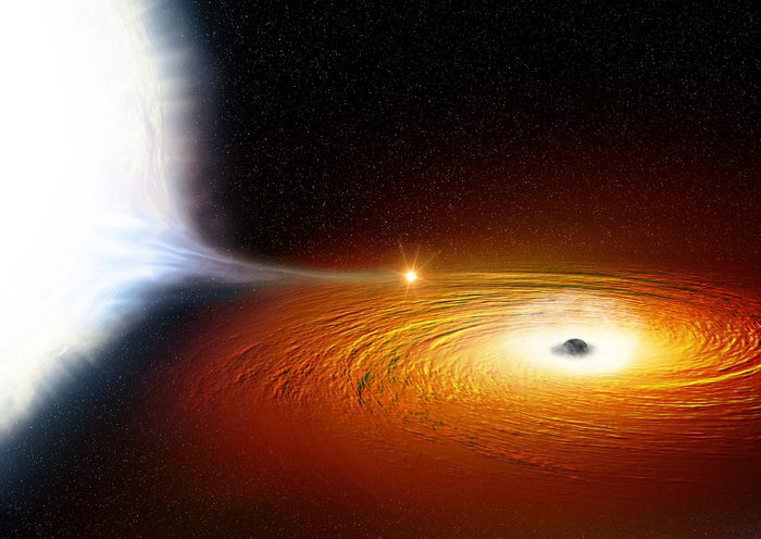 An artist's impression of the white dwarf orbiting the black hole in the binary.