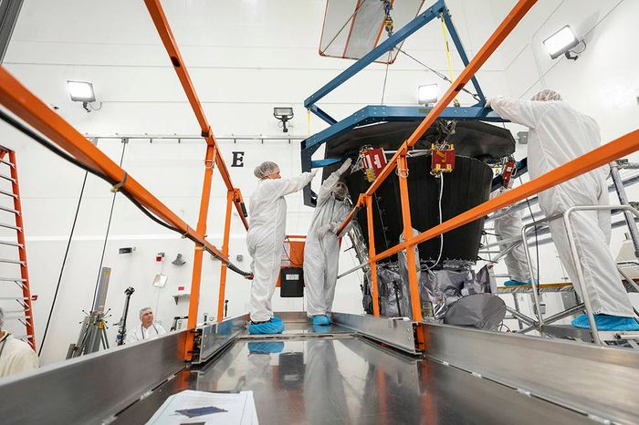 NASA engineers install the TPS on the Parker Solar Probe.