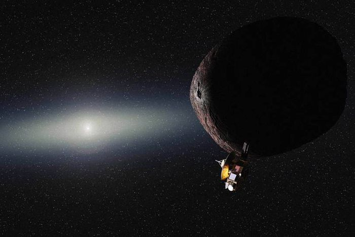 An artist's rendition of the New Horizons spacecraft flying past Ultima Thule.