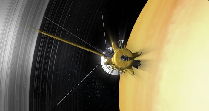 Cassini flew in between Saturn and its rings during a routine 'dive' last week.