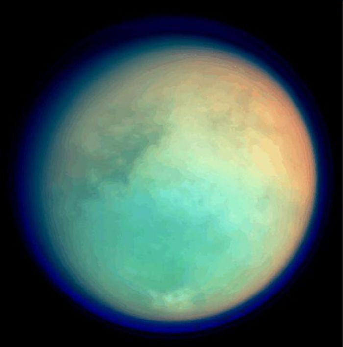 An image of Titan as taken from the Cassini spacecraft.