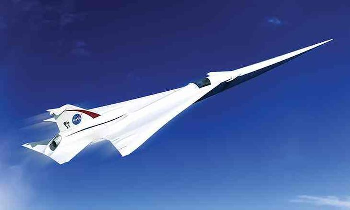 An artist's rendition of a low-boom supersonic jet designed by NASA.