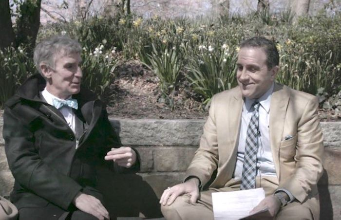 Bill and Marc sit together during an interview.