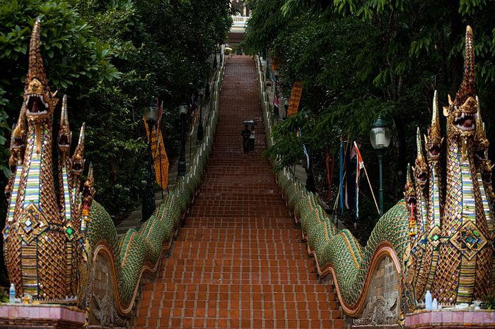 These elaborate steps lead to the entrance of the Doi Suthep Buddhist temple. Photo: Daily Travel Photos