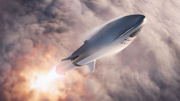 An artist's rendition of SpaceX's BFR mid-flight.