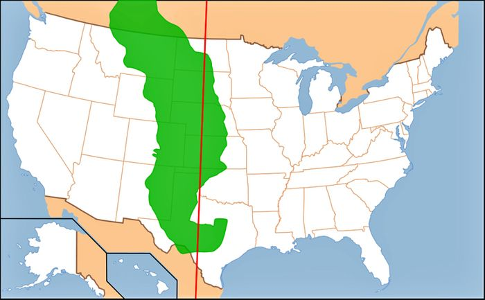 This map shows where the 100th meridian runs through. Photo: Homestead on the Range
