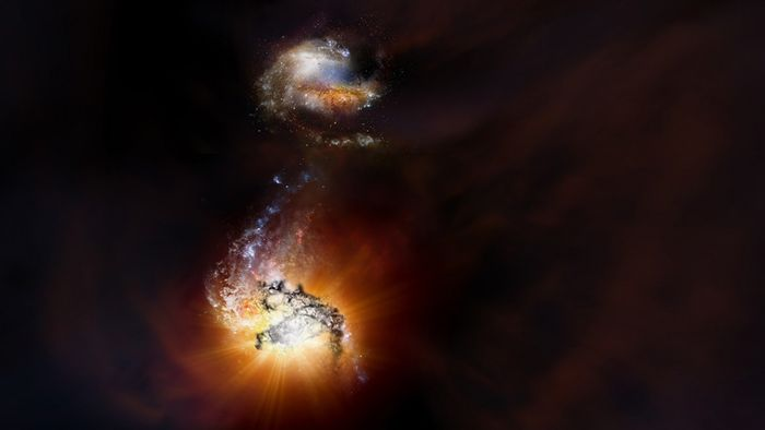 An artist's impression of ADFS-27, a duo of two early-universe galaxies that seem to be merging.