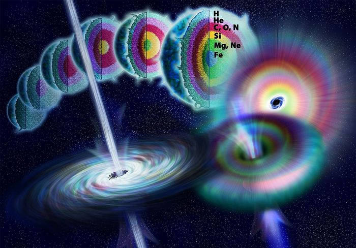 As its fusion reaction winds down, the star may collapse to form a black hole, creating an intense gamma-ray explosion (WikiMedia/NASA)