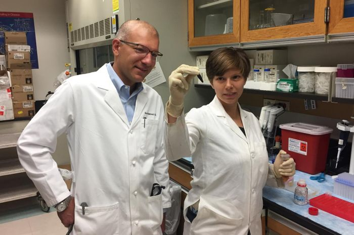 Borna Mehrad, MBBS (left), and Kathryn Michels, both of the University of Virginia School of Medicine, have identified a hormone that helps the body fight off the spread of bacterial pneumonia. The discovery may offer a simple way to help vulnerable patients. Credit: Josh Barney | UVA Health System
