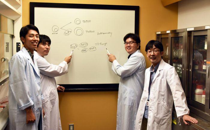 Hiroki Shirahata, Dr. Shin-ichi Koizumi, Dr. Daiki Sasaki and Professor Hiroki Ishikawa. Credit: OIST