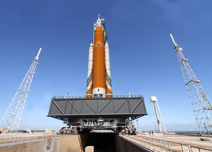 An artist's rendition of NASA's SLS rocket that has passed its critical design review.
