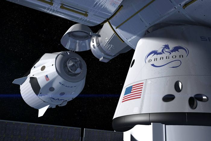An artist's impression of SpaceX's Crew Dragon spacecraft docking with the International Space Station.