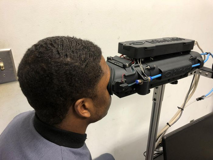 The Blink Reflexometer being used to measure the blink reflex of a cadet. Credit: The Citadel.