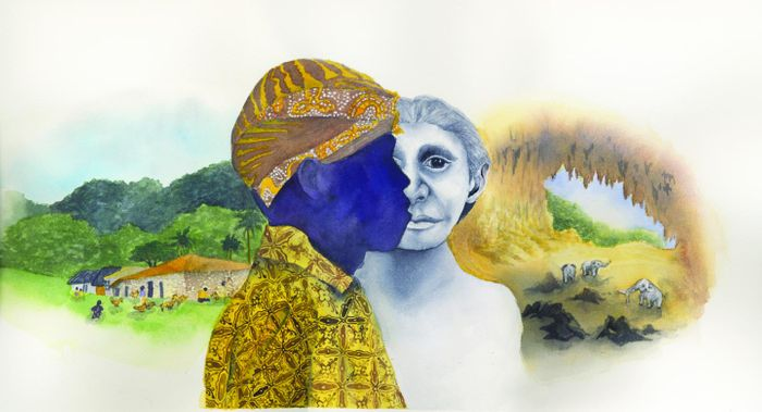 The modern pygmy village, Rampasasa, (left), a modern Rampasasa pygmy wearing the traditional head covering and clothing (center) juxtaposed against a Homo floresiensis reconstruction; pygmy elephants in the Liang Bua cave (right)/ Illustration by Matilda Luk, Office of Communications, Princeton University
