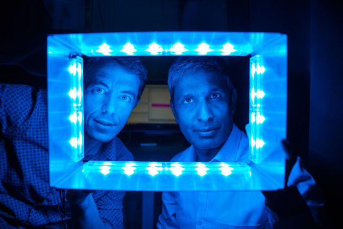 From left: Salk scientists Ludovic Mure and Satchin Panda uncover how certain retinal cells respond to artificial illumination. / Credit: Salk Institute