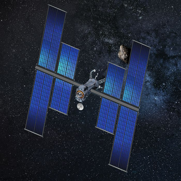An artist's impression of a future spacecraft utilizing a roll-out solar array.