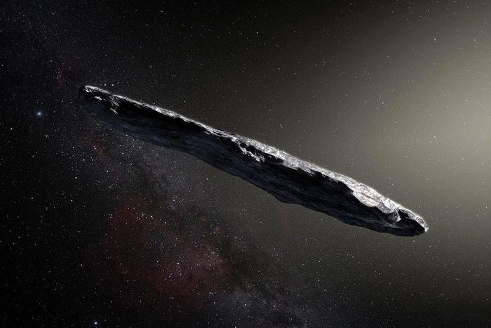 An artist's depiction of Oumuamua.