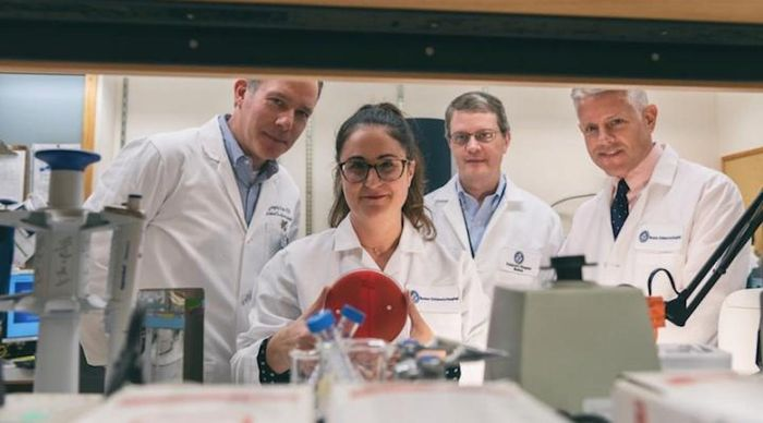 This photo shows Gregory Priebe, Christina Merakou, Alexander McAdam, and Tom Sandora. / Credit: Michael Goderre/Boston Children's Hospital