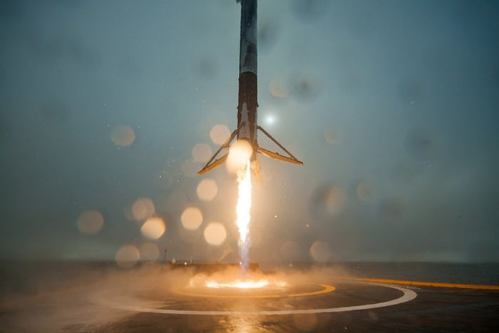 A SpaceX Falcon 9 rocket as it approaches the landing pad.