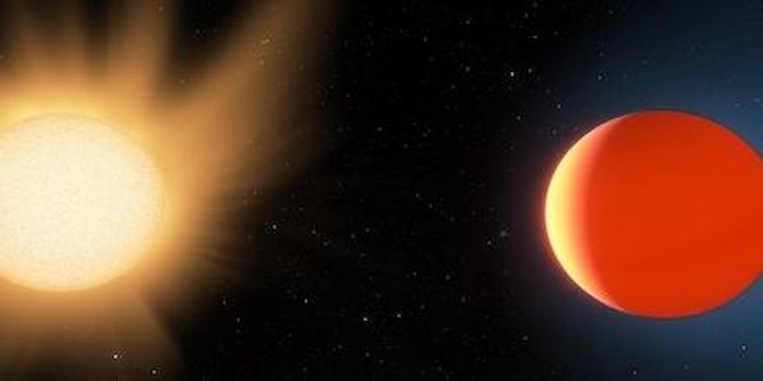 This artist's impression shows LTT9779b near the star it orbits, and highlights the planet's ultra-hot (2000 Kelvin) day-side and its quite-toasty night-side (around 1000 K). / Credit: Ethen Schmidt | University of Kansas
