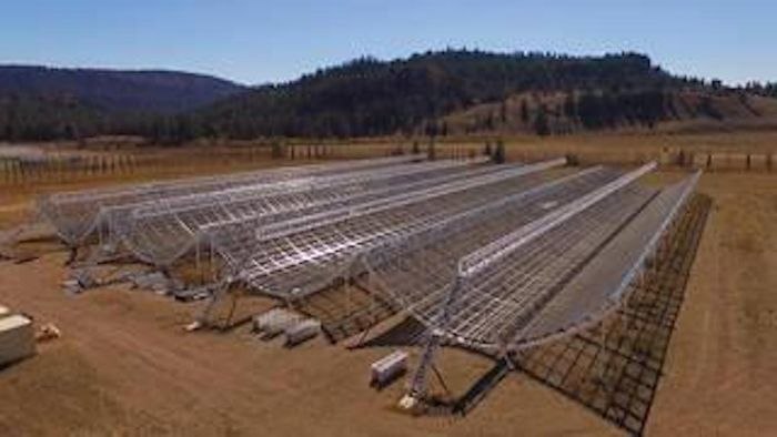 This aerial view shows the Canadian Hydrogen Intensity Mapping Experiment (CHIME), a radio telescope located at Dominion Radio Astrophysical Observatory in British Columbia. / Credits: Richard Shaw/UBC/CHIME Collaboration