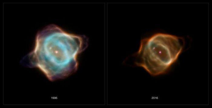 Hubble images of the Stingray nebula taken in 1996 on the left and 2016 on the right / Credit: NASA, ESA, B. Balick (University of Washington), M. Guerrero (Instituto de Astrofisica de Andalucia), and G. Ramos-Larios (Universidad de Guadalajara)