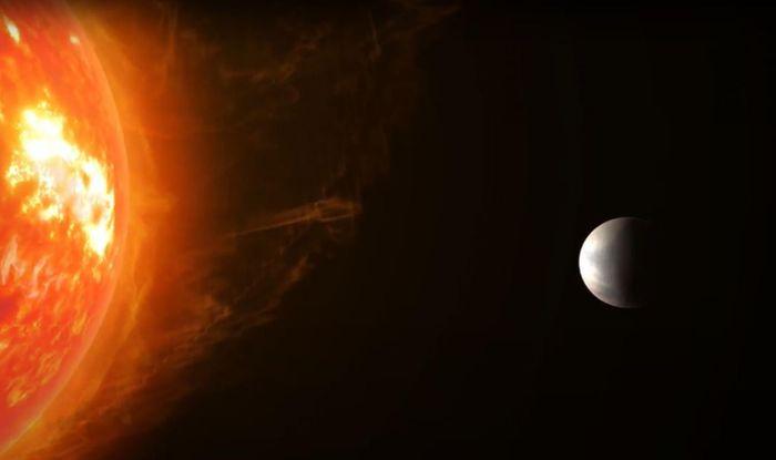 Artistic impression of Super-Earth Gliese 486b and its nearby red dwarf star. / Credit: RenderArea, https://renderarea.com
