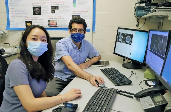 Georgia Tech Mechanical Engineering Ph.D. student Yutong Guo (left) and her mentor, assistant professor Costas Arvanitis, have developed a way to use ultrasonics to treat brain disease. / Credi:  Ashley Ritchey, Georgia Tech