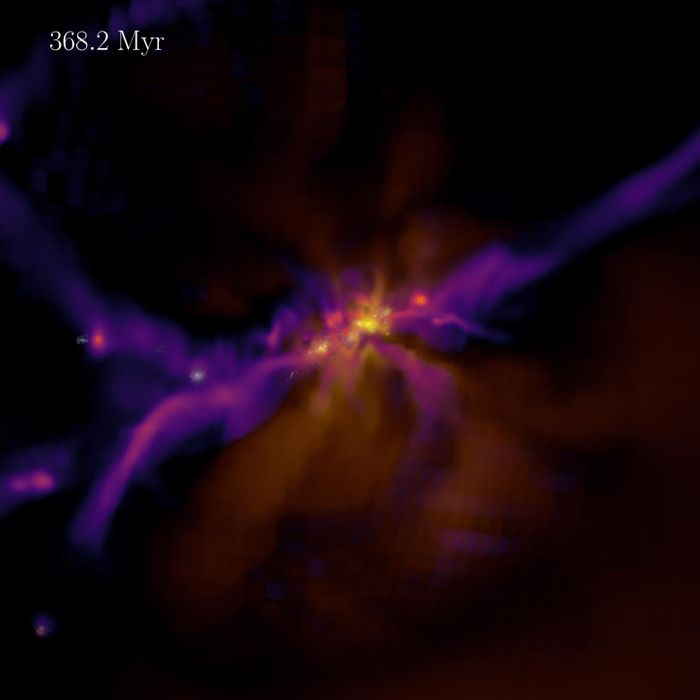 Still of a video showing the formation and evolution of the first stars and galaxies in a virtual universe similar to our own. Credit  Dr Harley Katz, Beecroft Fellow, Department of Physics, University of Oxford