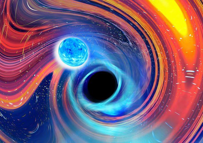 An artistic image inspired by a black hole-neutron star merger event./ Credit: Carl Knox, OzGrav/Swinburne
