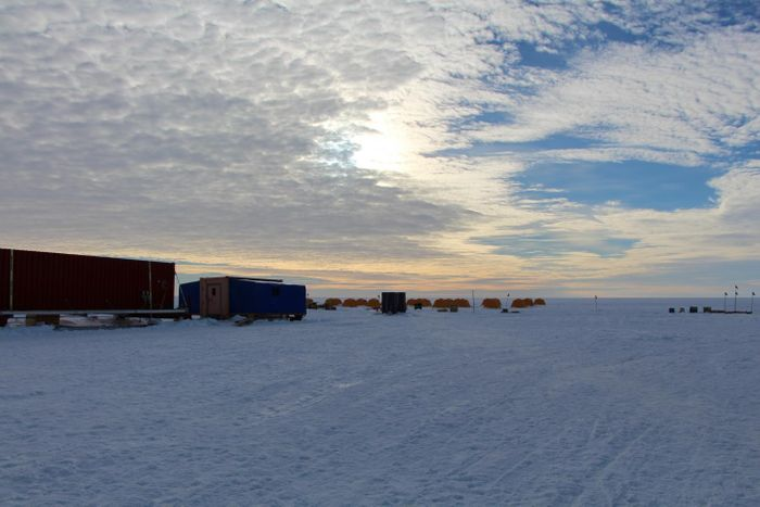 The field location, including tents and labs, at Subglacial Lake Whillans, Antarctica. / Credit: John Priscu