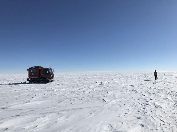 NASA scientists on the Antarctic Ice Sheet during a 470-mile expedition in 2019, meant to assess the accuracy of data gathered in space by the Ice Cloud and land Elevation Satellite-2 (ICESat-2). / Credit: NASA's Goddard Space Flight Center/Dr. Kelly Brunt