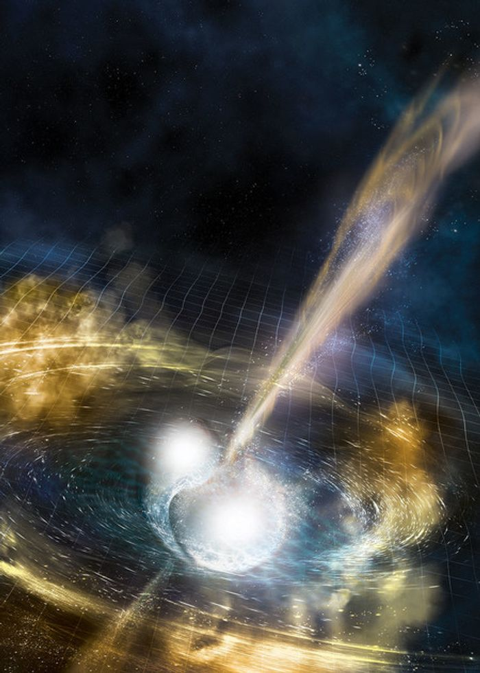 An artist's impression of two neutron stars merging together.