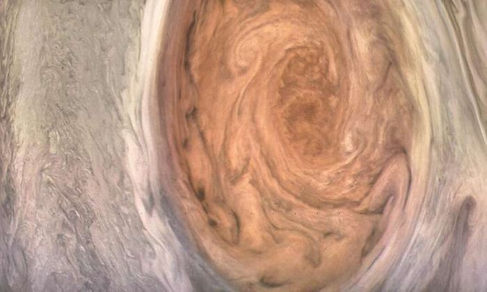This image of the Great Red Spot was processed by citizen scientist Kevin Gill.