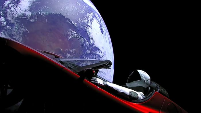 A view of Elon Musk's Tesla Roadster captured by a side-mounted camera on the car itself.