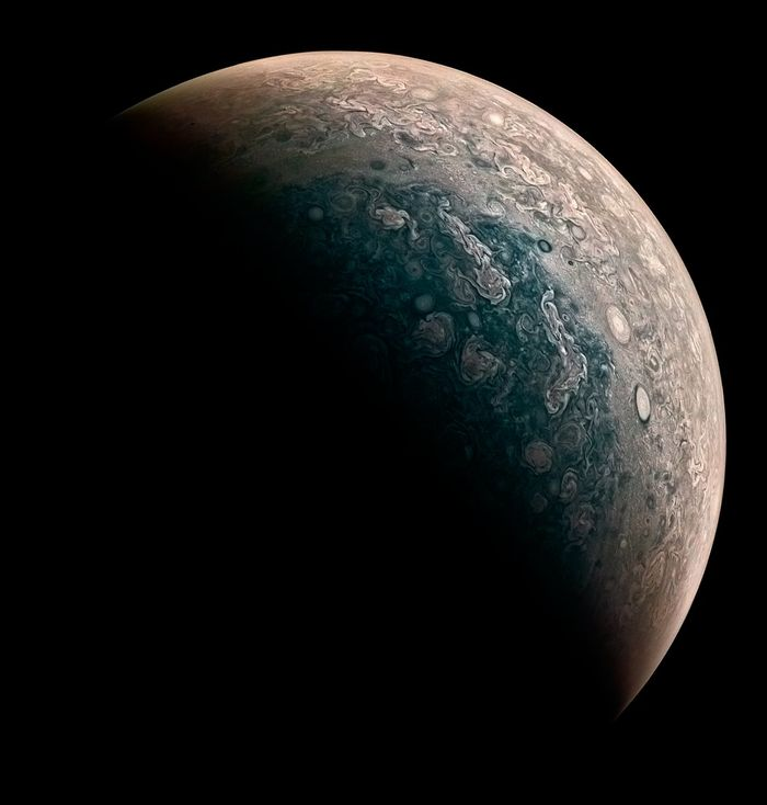 A processed image of Jupiter's North pole from the perspective of Juno.